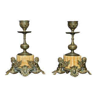19th Century Traditional Bronze Bone Mythological Candle Sticks - a Pair For Sale