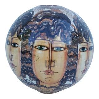 Vintage Hand-Painted Face Ceramic Vase For Sale