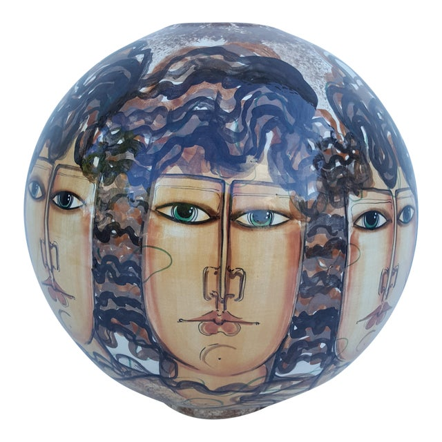 Vintage Hand-Painted Face Ceramic Vase For Sale