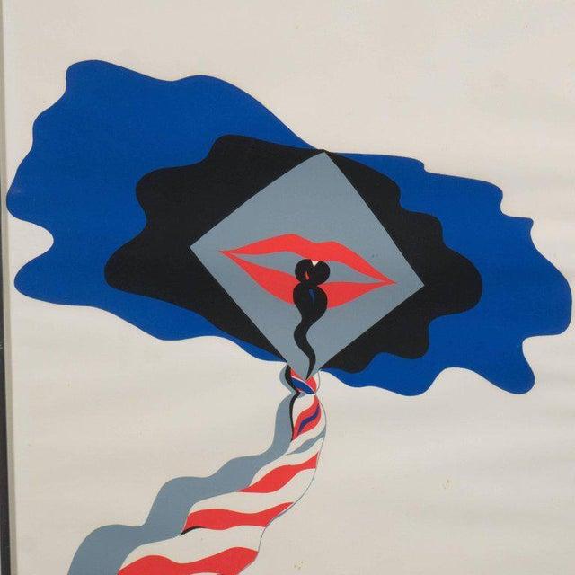 Mid-Century Modern Pop Art Print by Allen Jones in Black & Electric Blue/Red - Image 3 of 10
