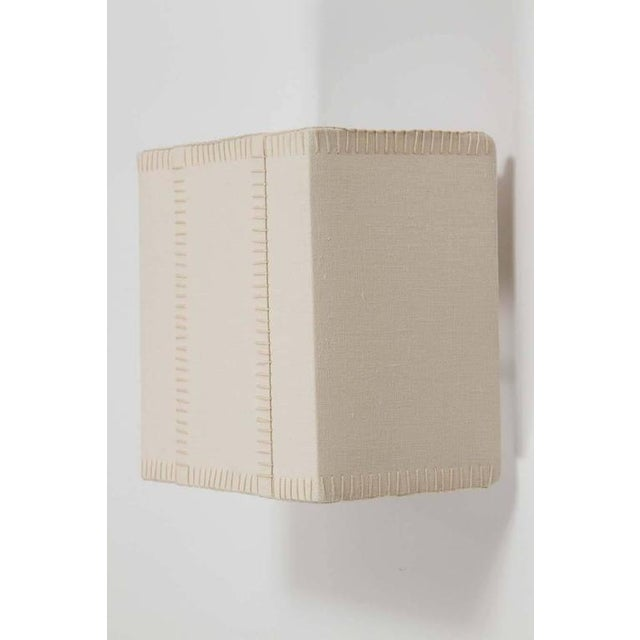Hand-Stitched Laced Linen Shaded Wall Sconces - Image 2 of 7