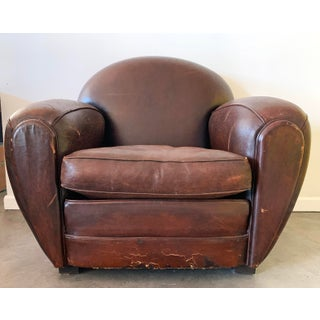 French Art Deco Leather Club Chair, 1940s Preview
