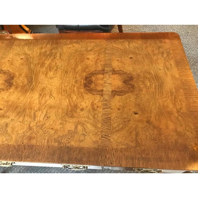 Chippendale Baker Furniture Burl Walnut Writing Table Desk For Sale - Image 3 of 12