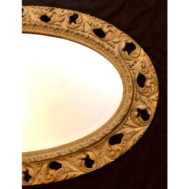 Early 20th Century 20th Century Italian Gilt Carved Wood Oval Beveled Wall Mirror For Sale - Image 5 of 10