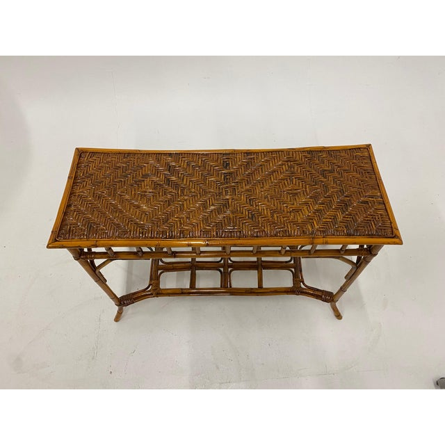 Organic Modern Bamboo and Rattan Console For Sale - Image 11 of 12