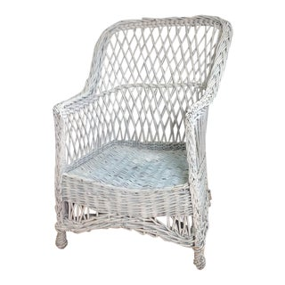 White Painted Wicker Chair For Sale