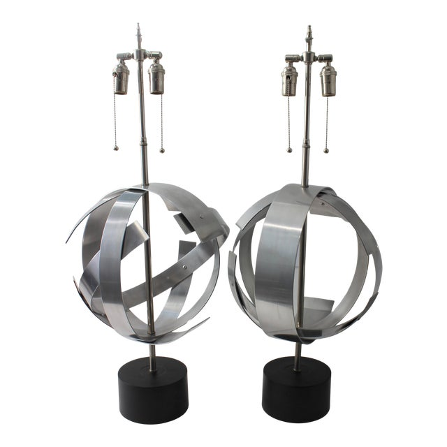 Vintage Modern Armillary Style Stainless Steel Table Lamps - the Pair For Sale
