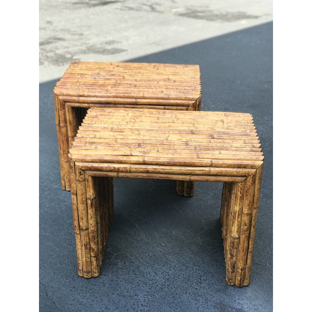 1980s Vintage Bamboo End Tables - A Pair For Sale - Image 5 of 8