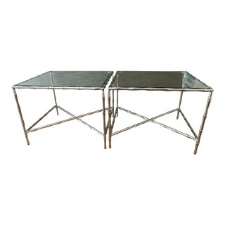 1990s Vintage Hollywood Regency Chrome and Glass Tables- A Pair For Sale