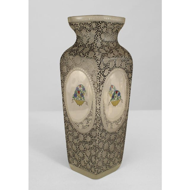 Late 19th Century Austrian (Bohemia) Secessionist Tapered Square Glass Vase For Sale - Image 5 of 5