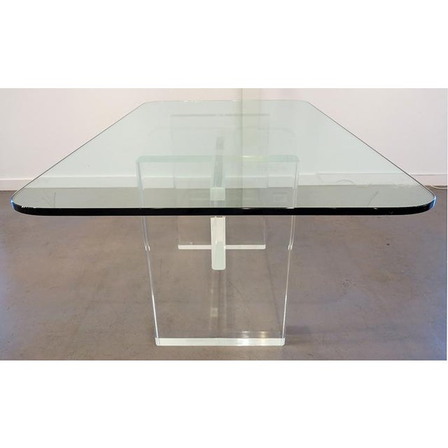 Contemporary 1970's Lucite Executive Desk / Dining Table For Sale - Image 3 of 13