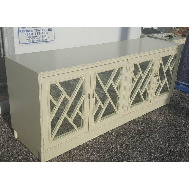 Bamboo White Faux Bamboo Chinese Chippendale Credenza For Sale - Image 7 of 10
