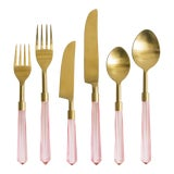 Image of PRISM Rosewater + Gold Flatware - Set of 6 For Sale