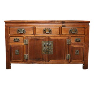 Narrow Elmwood Sideboard With Brass Hardware From Southern China, 19th Century For Sale