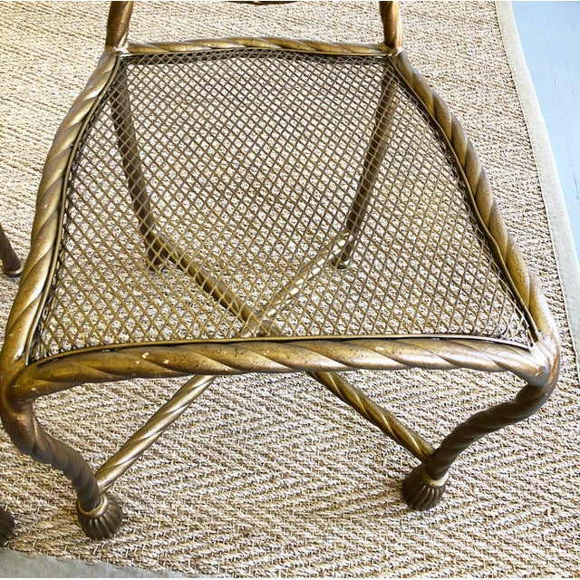 Pair Napoleon III Style Gilt Rope & Tassel Metal Side Chairs For Sale - Image 9 of 10