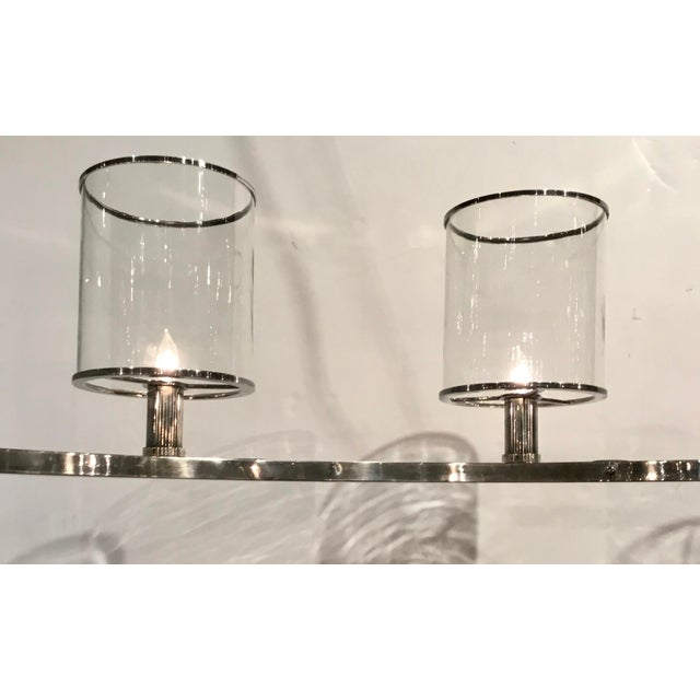 Contemporary Arteriors Modern Silver Metal and Glass Lorena Fixed Chandelier For Sale - Image 3 of 7