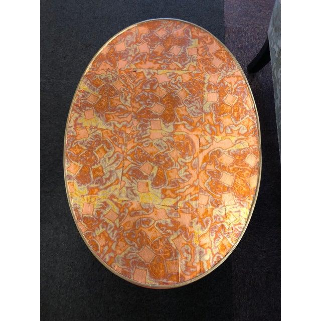 Custom Painted Metal Leaf Top Side Table For Sale - Image 4 of 6