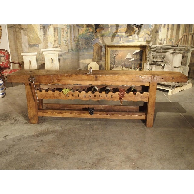 """Antique """"Bourgogne"""" French Wine Carrier Converted From a Workbench For Sale - Image 11 of 13"""