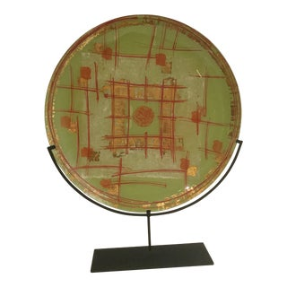 1980s Signed Large Glass Disk on Metal Stand Sculpture For Sale