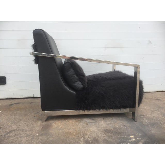 Faux Fur Leather & Chrome Lounge Chair For Sale In Philadelphia - Image 6 of 8