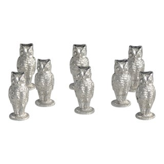 Mid 20th Century Napier Sculptured Owl Place Card Holders, Rhodiam Finish - Set of 8 For Sale