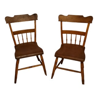 Primitive Maple Plank Seat Chairs- A Pair For Sale