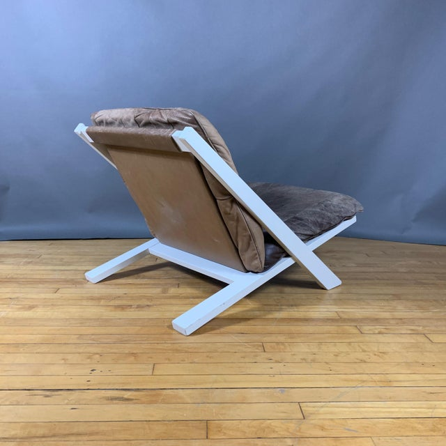 "Wood Pair Swiss Leather ""X-Chair"" by Ueli Berger for De Sede, 1970s For Sale - Image 7 of 12"