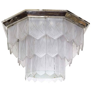 Palatial French Art Deco Frosted Art Glass Octagonal Chandelier, Signed Sabino For Sale