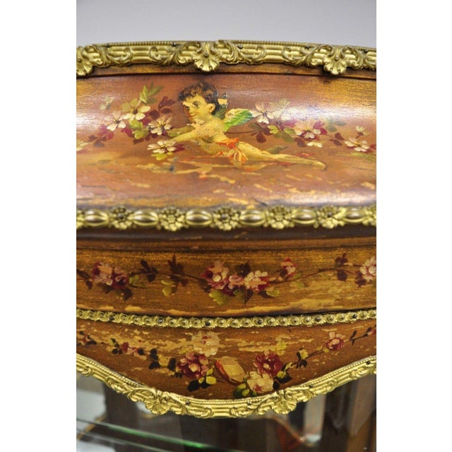 French 19th Century French Louis XV Hand Painted Vernis Martin Vitrine China Cabinet For Sale - Image 3 of 13