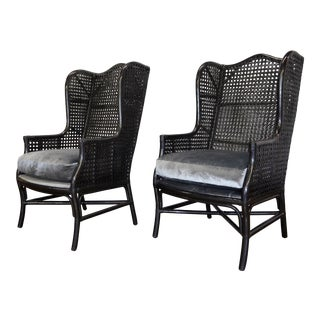 Pair of Metallic Finish Wingback Rattan Chairs For Sale