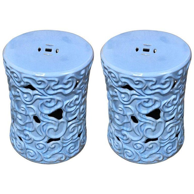 Gumps Chinese Export Steel Gray Turquoise Garden Seat - A Pair For Sale - Image 9 of 9