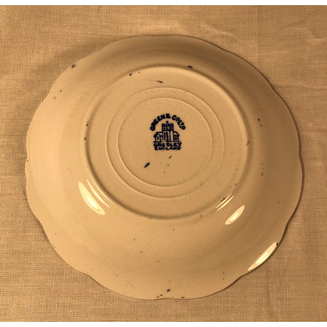 Traditional Vintage Antique Blue Willow Plate Saucer Greene Co England Porcelain White For Sale - Image 3 of 5