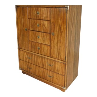 Drexel Accolade Campaign Style 6 Drawer Armoire Tall Chest 905-402 For Sale