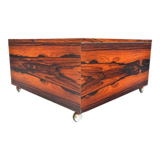 Danish Modern Square Storage Coffee Table in Rosewood For Sale
