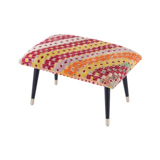Pasargad Home Bosphorus Collection Yellow & Red Kilim Cover Ottoman For Sale