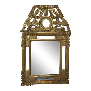 Mid 19th Century Carved French Gilt Mirror With Vineyard/Grapes and Bow Design For Sale