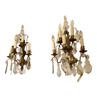 Pair of Vintage French Crystal & Bronze Wall Fixture Light Sconces