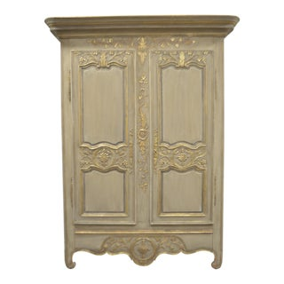 19th Century Louis XV Style Armoire Hand Carved and Painted With Some Gilt Accent. For Sale
