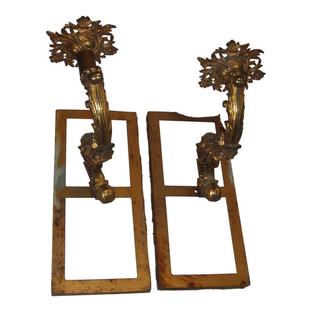 Ornate Bronze Wall Sconces - A Pair - Image 1 of 11
