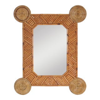1970s Bamboo and Rattan Mirror by Arpex For Sale