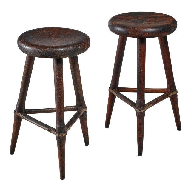 Pair of High Scandinavian Wooden Tripod Stools with Iron Connections, 1930s - Image 1 of 4