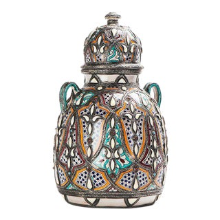 Royal Moroccan Multi-Color Ceramic and Stone Vase For Sale