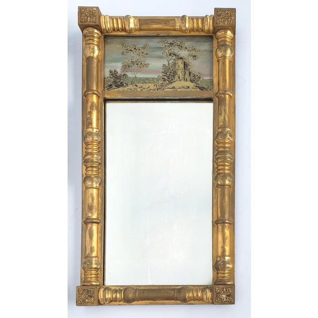 19th-C Federal Reverse Painted Giltwood Tabernacle Trumeau Mirror For Sale In Miami - Image 6 of 6