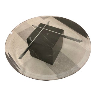 1970s Mid-Century Modern Artedi Black Marble and Chrome Coffee Table For Sale