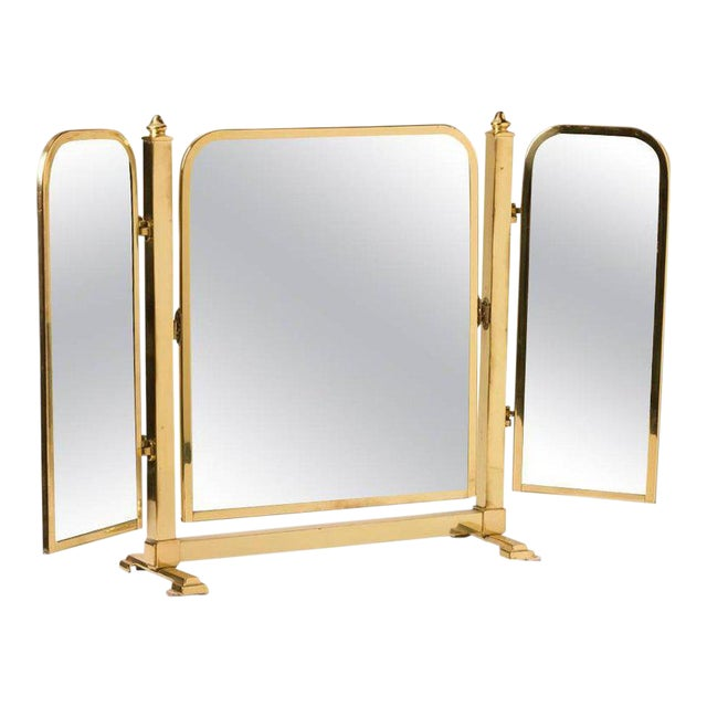 French Tri-Panel Brass Standing Vanity Mirror - Image 1 of 3