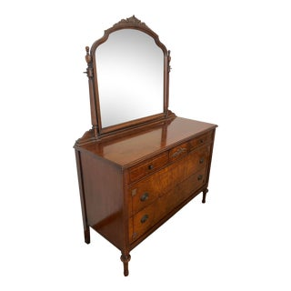 Vintage Wheatgrass LowBoy Dresser & Mirror For Sale
