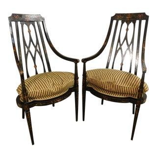 Cornelio Cappellini Hepplewhite Style Handpainted Pair Armchairs - a Pair For Sale