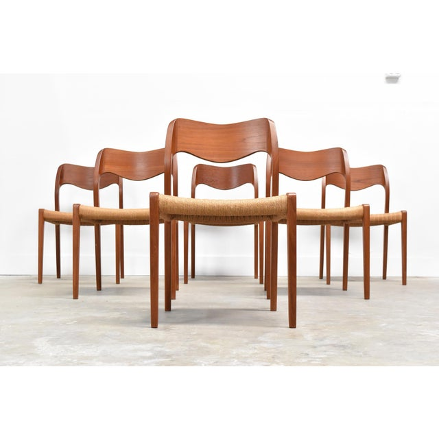 Danish Modern Danish Modern j.l. Møller Model 71 Teak Dining Chairs - Set of Six For Sale - Image 3 of 13