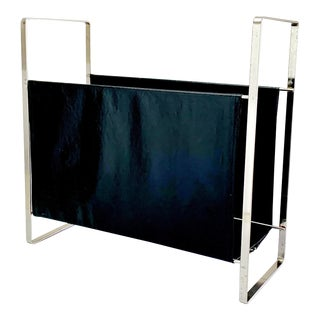 Late 1960s Vintage Leather and Metal Magazine Rack For Sale