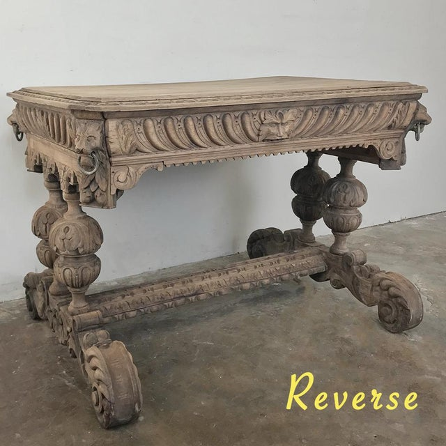 Renaissance 19th Century French Renaissance Writing Table For Sale - Image 3 of 13
